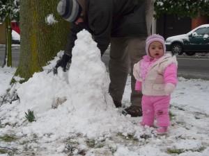 Saira's first birthday snowman